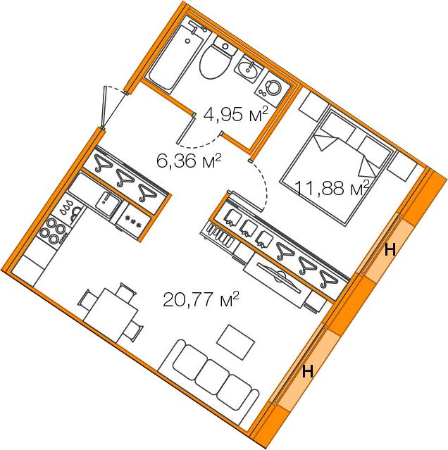 Планировка Однокомнатная квартира площадью 43.96 кв.м в ЖК «LEGENDA Комендантского»