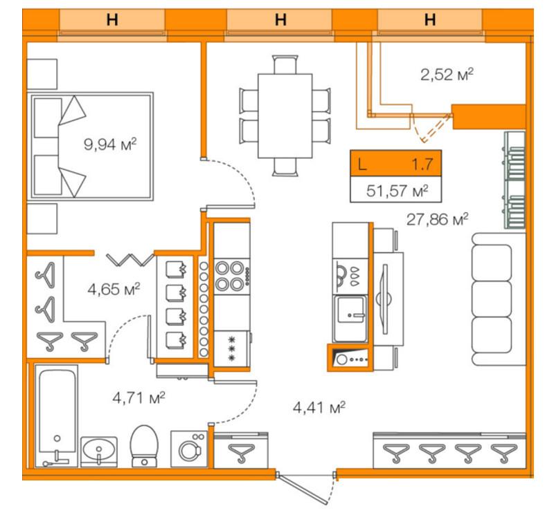 Планировка Однокомнатная квартира площадью 51.57 кв.м в ЖК «Legenda Комендантского»
