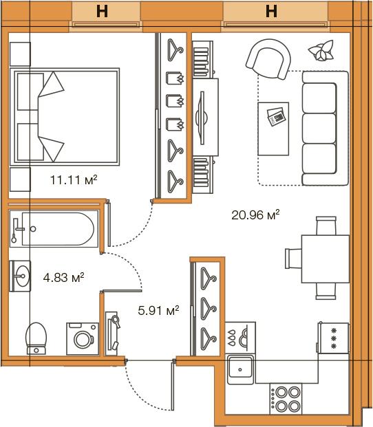 Планировка Однокомнатная квартира площадью 42.81 кв.м в ЖК «LEGENDA Комендантского»