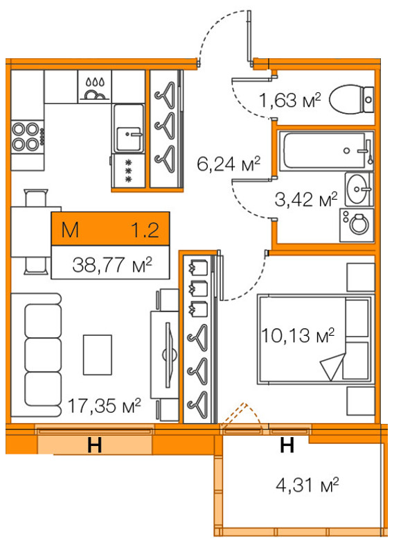 Планировка Однокомнатная квартира площадью 38.77 кв.м в ЖК «Legenda Комендантского»