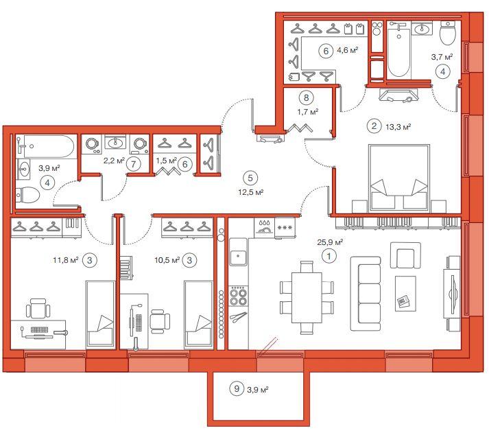 Планировка Трёхкомнатная квартира площадью 91.56 кв.м в ЖК «Legenda Комендантского»