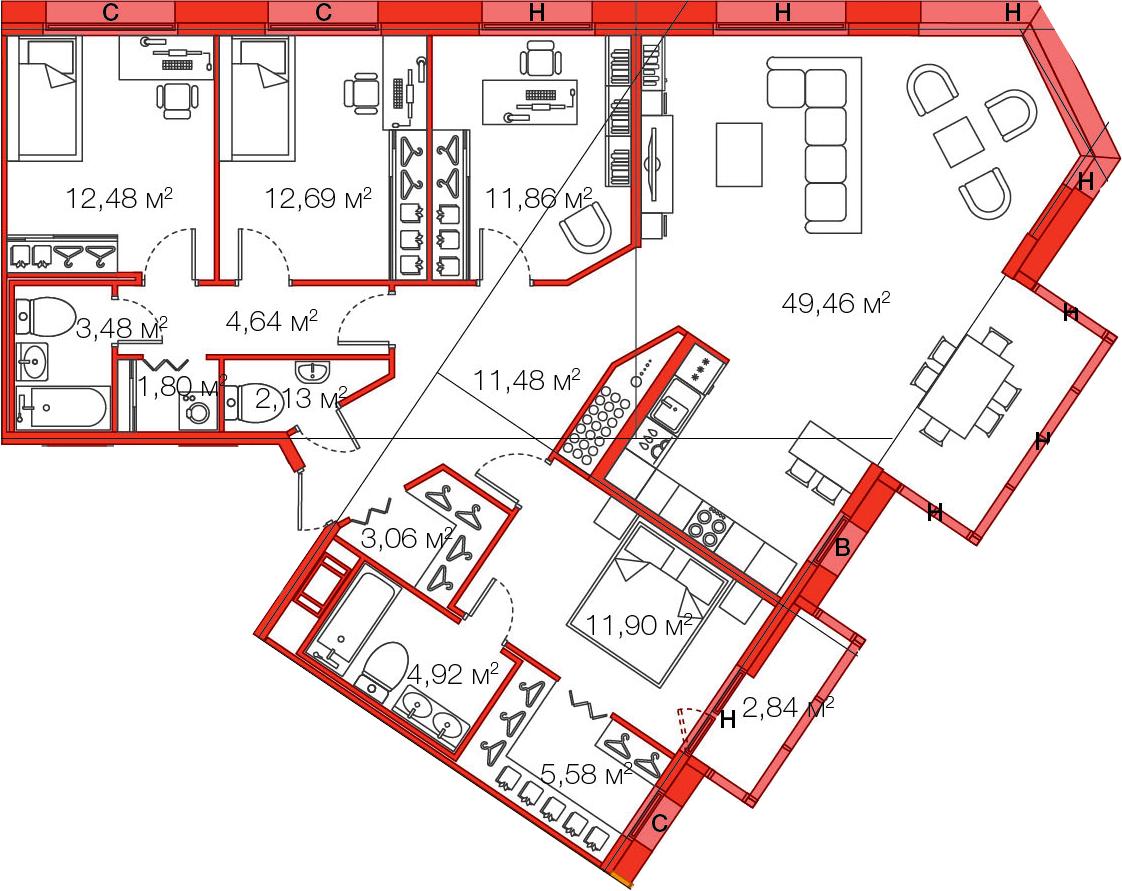 Планировка Четырёхкомнатная квартира площадью 138.32 кв.м в ЖК «LEGENDA Комендантского»