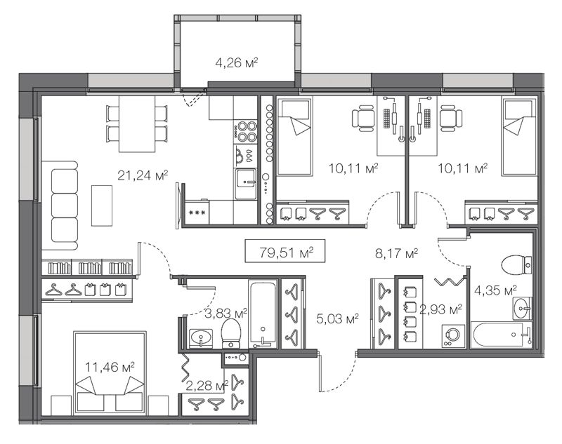 Планировка Трёхкомнатная квартира площадью 79.51 кв.м в ЖК «Legenda Комендантского»