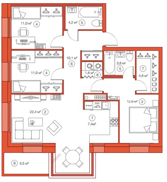Планировка Трёхкомнатная квартира площадью 89.1 кв.м в ЖК «Legenda Комендантского»