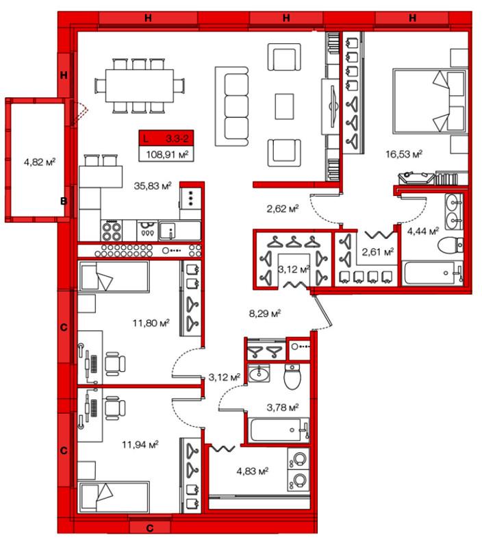 Планировка Трёхкомнатная квартира площадью 108.91 кв.м в ЖК «Legenda Комендантского»