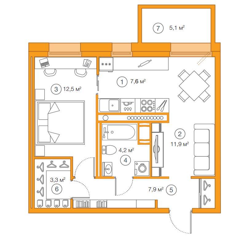 Планировка Однокомнатная квартира площадью 47.38 кв.м в ЖК «Legenda Комендантского»