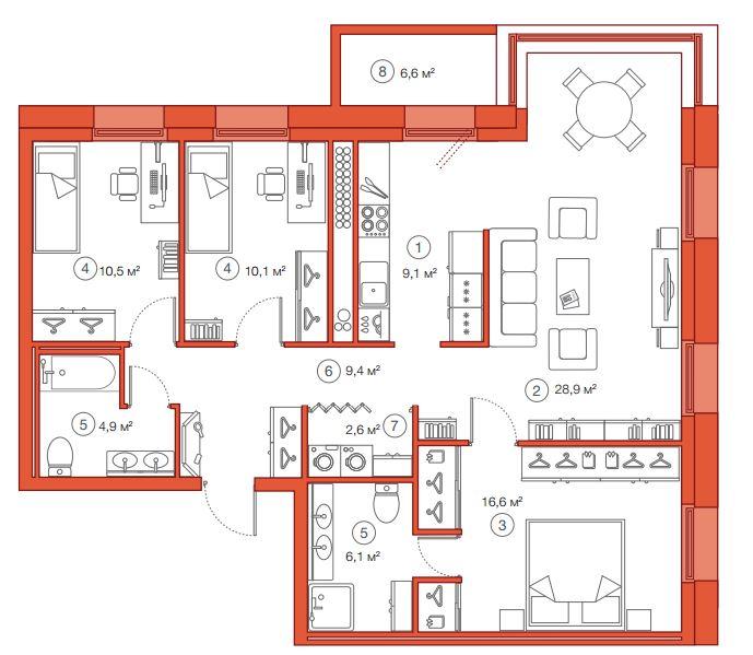 Планировка Трёхкомнатная квартира площадью 98.19 кв.м в ЖК «Legenda Комендантского»