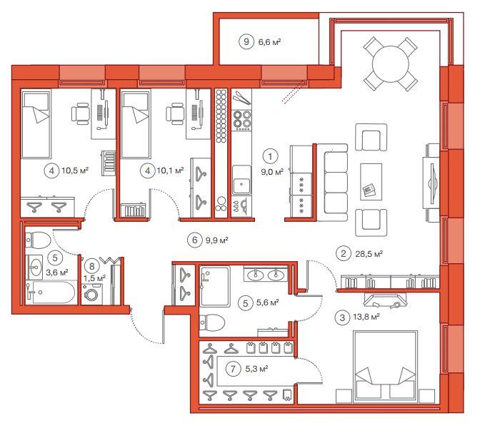 Планировка Трёхкомнатная квартира площадью 97.82 кв.м в ЖК «Legenda Комендантского»