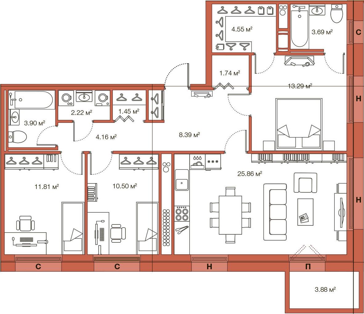 Планировка Трёхкомнатная квартира площадью 95.44 кв.м в ЖК «LEGENDA Комендантского»