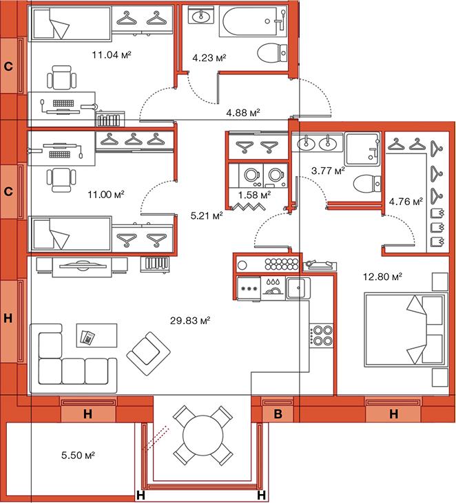 Планировка Трёхкомнатная квартира площадью 94.6 кв.м в ЖК «LEGENDA Комендантского»