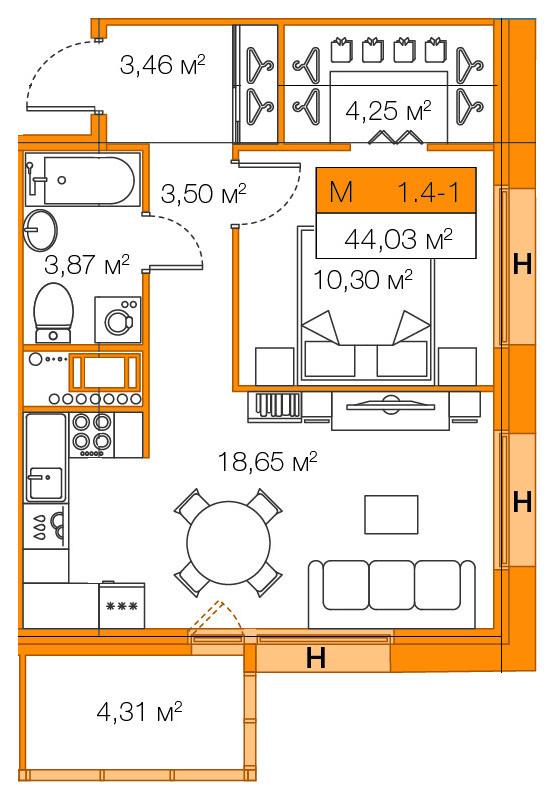 Планировка Однокомнатная квартира площадью 44.03 кв.м в ЖК «Legenda Комендантского»