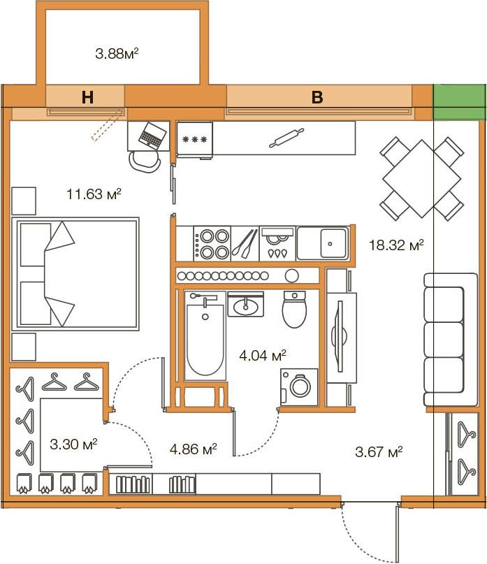 Планировка Однокомнатная квартира площадью 49.7 кв.м в ЖК «LEGENDA Комендантского»