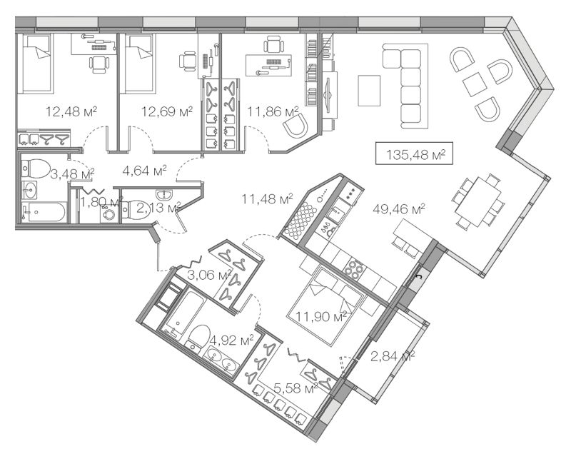 Планировка Четырёхкомнатная квартира площадью 135.48 кв.м в ЖК «Legenda Комендантского»
