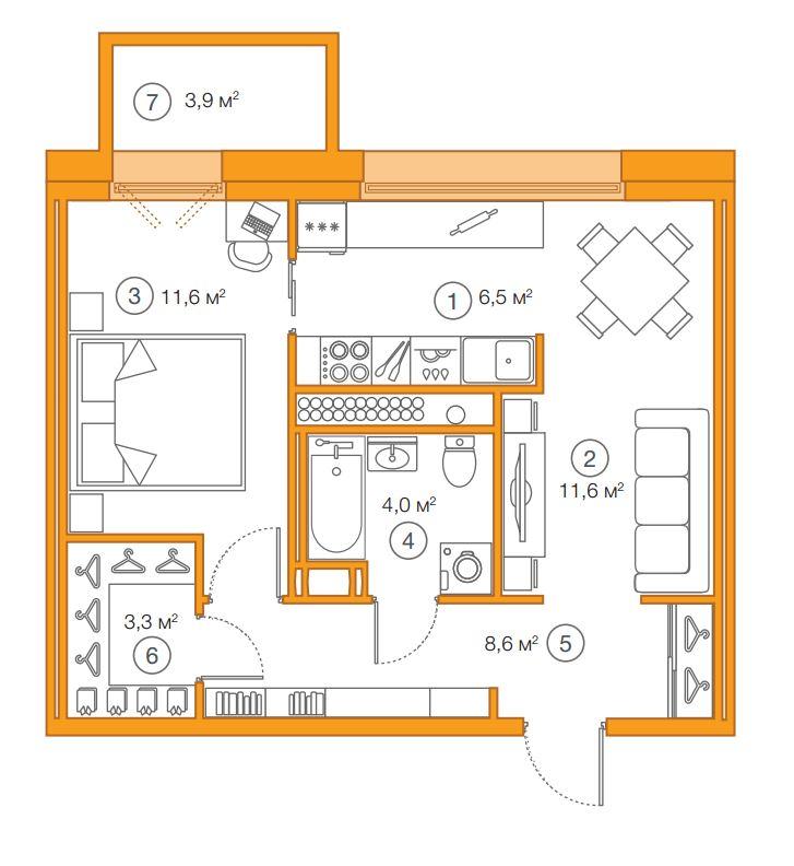 Планировка Однокомнатная квартира площадью 45.82 кв.м в ЖК «Legenda Комендантского»